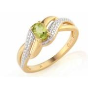 Prsten s diamantem, žluté zlato briliant, peridot (olivín) v kombinaci s lesklou