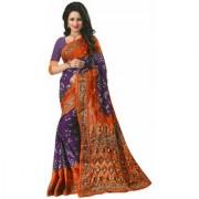 Orange Floral Printed Work Bhagalpuri Silk Partywear Bandhani Saree with Blouse