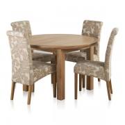 Oak Furnitureland Natural Solid Oak Dining Sets - 4ft Extending Dining Table with 4 Chairs - Knightsbridge Range - Oak Furnitureland