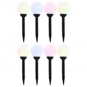 vidaXL Градински соларни лампи, 8 бр, LED, сферични, 15 см, RGB