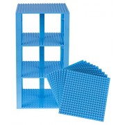 "Premium Sky Blue Stackable Base Plates 10 Pack 6"" X 6"" Baseplate Bundle With 80 Sky Blue Bonus Building Bricks (Lego Compatible) Tower Construction"