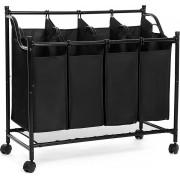 Nancy's Wassorteerder – Wasmand Met 4 Vakken – Wasbox – Waswagen – Was Sorteren - Wascollector – Zwart