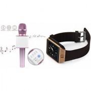 Zemini DZ09 Smartwatch and Q7 Microphone Karrokke and Bluetooth Speaker for LG OPTIMUS L4 II(DZ09 Smart Watch With 4G Sim Card Memory Card| Q7 Microphone Karrokke and Bluetooth Speaker)
