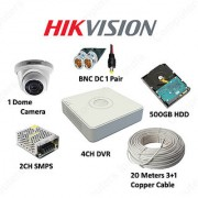 OMRC Hikvision 4CH DVR DS-7A04HGHI-F1/ECO 1MP Dome DS-2CE5AC0T-IRPF/ECO 1 No. 500GB HDD SMPS Cable BNC/DC.