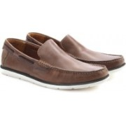 Clarks Kelan Lane Tobacco Leather Loafers For Men(Multicolor)