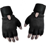 Gym Gloves And Sports Gloves Sweat leather full Black