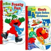Sesame Street Elmo Christmas Board Book Set For Kids Toddlers (Set of 2 Board Books)