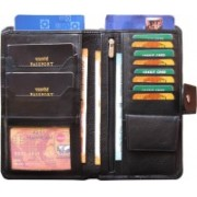 ABYS Women Casual Blue Genuine Leather Wrist Wallet(9 Card Slots)