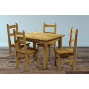 Mexican Pine Wood Dining Table and 4 Chairs