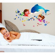Wall Stickers Cute Baby Girl and Boy Playing Underwater Cartoon Whale and Fishes Kids Room
