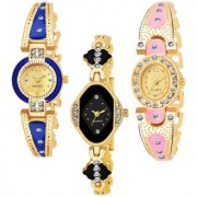 Varni Retail Gold Blue Round Gold Light PINK Oval Black Cross Rectangle Side Diamonds 3 Combo Watch For Girls