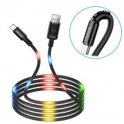 Usams US-SJ287 USB-C LED Charging Cable - 2A - Black
