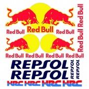 adesivi stickers red bull repsol hrc moto e auto