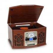 Auna NR-620 tocadiscos de vinilo cadena estéreo MP3 CD marrón oscuro