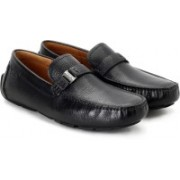 Clarks Davont Saddle Blk Tumbled Lea Loafers For Men(Black)