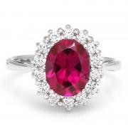 Inel Borealy Argint 925 Red Rubin 3 carate Love Marimea 6
