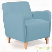 Fotoliu din lemn de fag si tapiterie din material textil, KOPA albastru S375VA27 JG