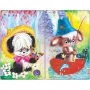 Set 2 Puzzle-uri Larsen Animale Simpatice LRCU2, 14 piese
