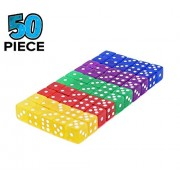 Xct 16Mm 6-Sided Game Dice Set - Assorted Translucent Colorful In Red, Yellow, Blue,Green,Purple For Board Games, Activity, Gaming Theme, Party Favors, Toy (50 Piece/Set)