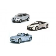 Playking Kinsmart Combo of 5'' Die Cast Metal * Doors Openable * Pull Back Action BMW Z4, BMW i8 & BMW X6, Color May Vary