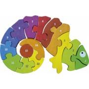 Cameleonul bilingv - Puzzle lemn piese mari