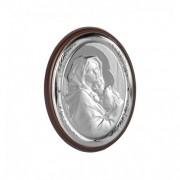 Icoana argintata botez cu Maica Domnului si Pruncul