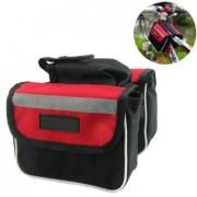 Dvojitá taška na stredový rám bicykla červeno - čierna