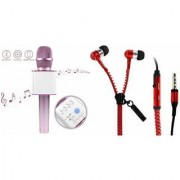 Mirza Q7 Microphone and Zipper Earphone Headset for OPPO R9 PLUS(Q7 Mic and Karoke with bluetooth speaker   Zipper Earphone Headset )