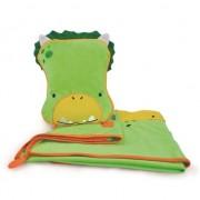 Merkloos Kinder reisset deken en kussentje groene