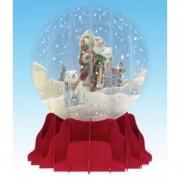 Felicitare 3d tip glob mos craciun cu urs polar