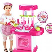 Sajani Luxury battery operated kitchen play set pretend play set for kids with roll play kitchen set carry case, with LED lights & sound, Multi color