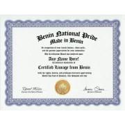 Benin Beninese National Pride Certification: Custom Gag Nationality Family History Genealogy Certificate (Funny Customized Joke Gift - Novelty Item)