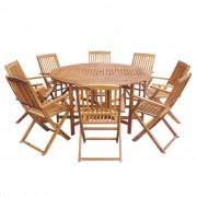 vidaXL Set mobilier de exterior pliabil, 9 piese, lemn de acacia