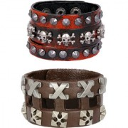 Funky Punk Red Black 100 Genuine Handcrafted Leather Adjustable Wrist Band Strap Combo Pack Of 2 Bracelet Boys Men