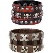 Funky Punk Red Black 100 Genuine Handcrafted Leather Adjustable Wrist Band Strap Combo Pack Of 2 Bracelet Boys Men