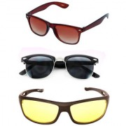 Magjons Brown Wayfarer And Clubmaste Sunglasses Combo Yellow Driving Goggale Set of 3 With box MJK09