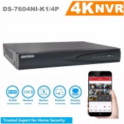 In Stock Hikvision H.265 4ch PoE NVR DS-7604NI-K1/4P Embedded 4K NVR Support H.265 Up to 8MP 4CH IP Camera Recording