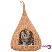 vidaXL Kućica za mačke s jastukom tipi 40 x 60 cm od prirodne vrbe