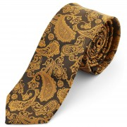 Tailor Toki Paisley Polyester Krawatte In Gold & Braun
