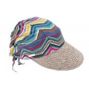 Seeberger Damen Strohcap mit Strohbortenschild und geometrischem Tuch braun gemustert onesize