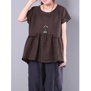 ZANZEA S-5XL Casual Women Ruffled Hem Short Sleeve Shirts