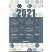 Optimalprint Fotoposter kalender 30x40 cm, 1 st, geometrisk, hexagon, mönster, blå, violett, modernt, Optimalprint