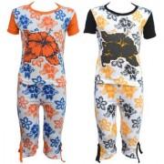 Eazy Trendz Baby Girls Mindblowing Floral Printed Half Sleeve Top & Bottom Tshirt and Capri Super Set of 2