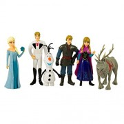 SmartPick Frozen Princess with Throne and Castle and Characters Action Figure Toys (6pcs Set - Cake Topper)