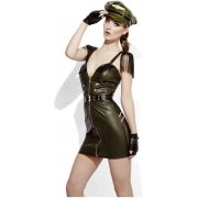Fever Kostuum -M- Fever Role-Play - Military Chief Wet Look Groen