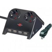 Разклонител Brennenstuhl, 2 гнезда-4x USB, обезопасени спрямо деца контакти, 1.8m, Черен