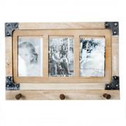 Cuier vintage, din lemn, cu spatiu pentru trei poze