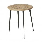Maisons du Monde Tavolino da salotto in mango scolpito e metallo nero