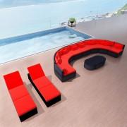 vidaXL Set mobilier de grădină cu șezlonguri, poliratan, roșu