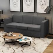 vidaXL 3-местен диван, текстил, тъмносив